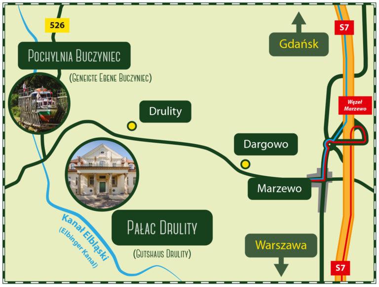 Mapa dojazdu Pałac Drulity